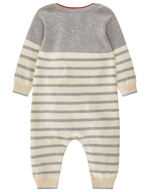 Newborn Baby Freddie Boat Sleepsuit in Knitted Cotton, Grey (GREY), large