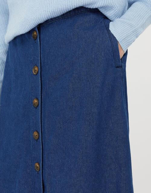 Tori Denim Midi Skirt in Organic Cotton, Blue (DENIM BLUE), large