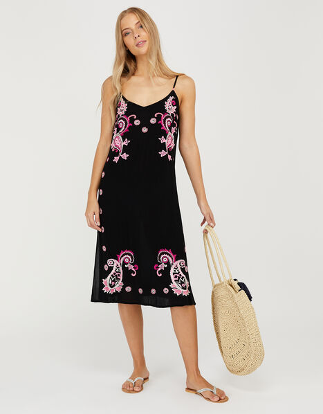 Embroidered Midi Dress in LENZING™ ECOVERO™ Black, Black (BLACK), large