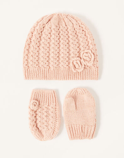 Baby Daisy Hat and Mittens Set Pink, Pink (PINK), large