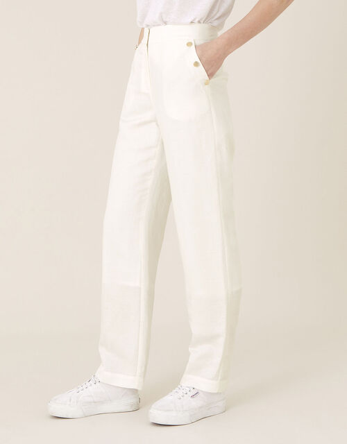 Smart Shorter Length Trousers in Linen Blend, White (WHITE), large