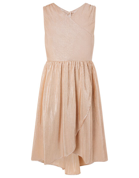 Metallic Plisse Tiered Prom Dress Gold, Gold (GOLD), large