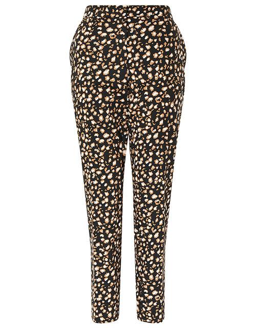 Camillia Animal Print Slim Trousers, Black (BLACK), large