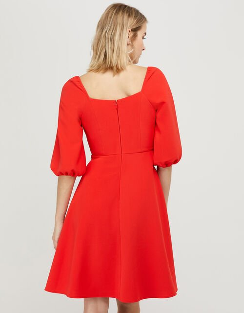 Sarah Sustainable Square Neck Dress, Red (RED), large