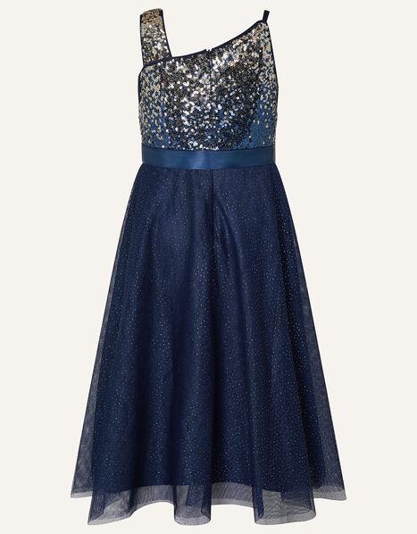 One-Shoulder Ombre Sequin Dress Blue, Blue (NAVY), large
