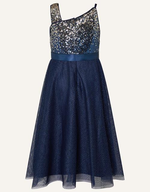 One-Shoulder Ombre Sequin Dress, Blue (NAVY), large