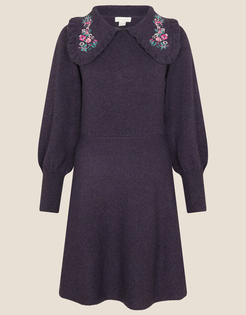 Embroidered Collar Fit and Flare Knit Dress, Purple (PURPLE), large
