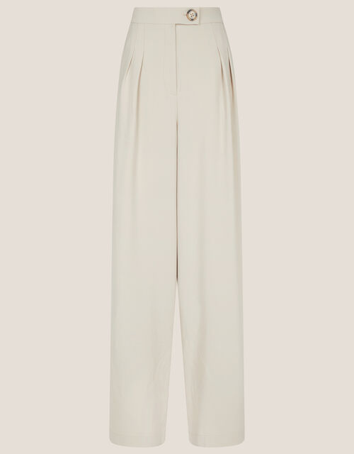 Wendy Wide Leg Trousers, Natural (STONE), large