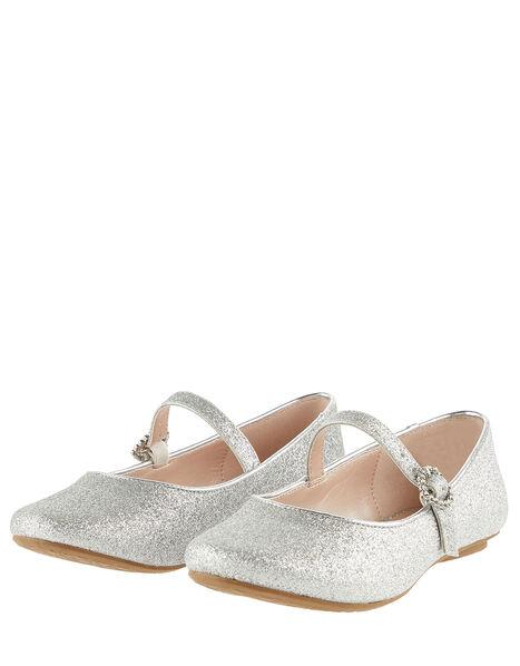 Glitter Ballerina Flats Silver, Silver (SILVER), large