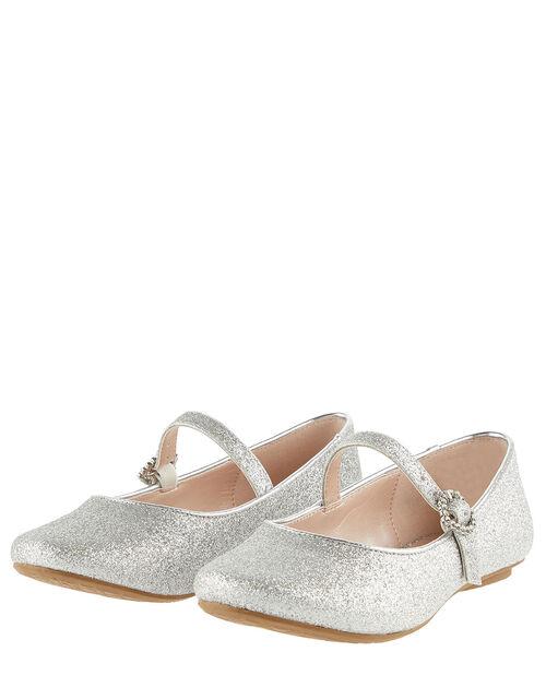 Glitter Ballerina Flats, Silver (SILVER), large
