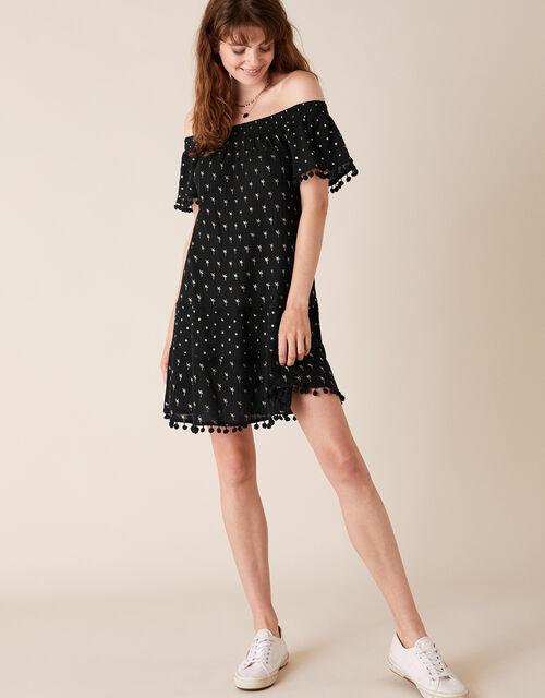 Foil Print Dress in Organic Cotton, Black (BLACK), large