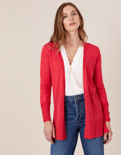 Button Cuff Cardigan in Linen Blend Red, Red (RED), large