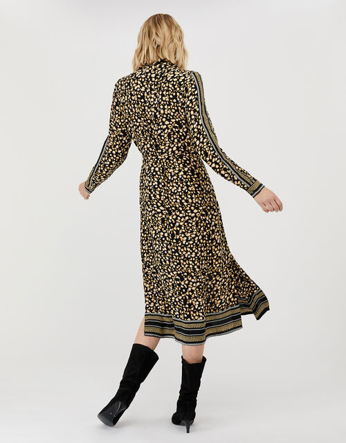 Camillia Printed Shirt Dress in Sustainable Viscose, Black (BLACK), large