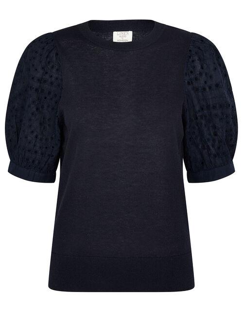 Broderie Sleeve Jumper in Linen Blend, Blue (NAVY), large