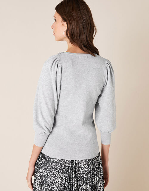 Crystal Button Jumper with Recycled Fabric, Grey (GREY MARL), large