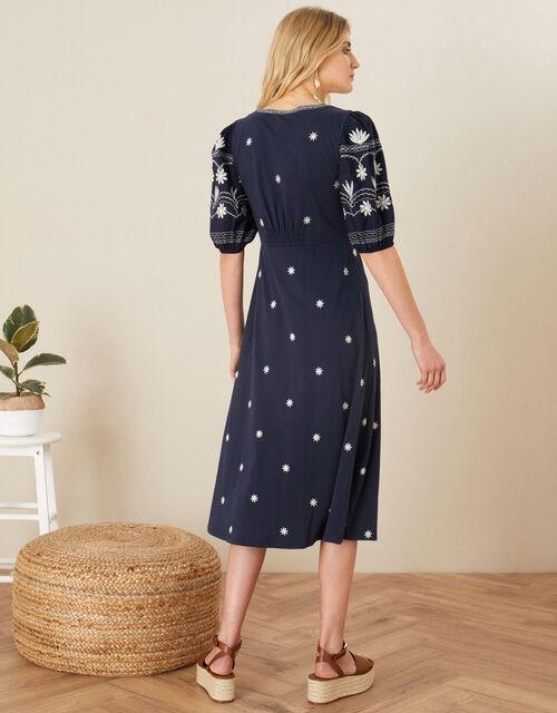 Emma Embroidered Jersey Dress , Blue (NAVY), large