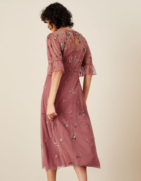 Roxanne Embellished Midi Dress Pink, Pink (ROSE), large