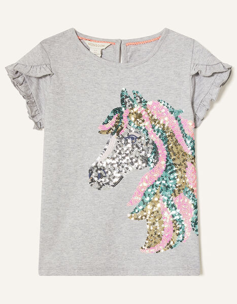Sequin Horse T-Shirt in Organic Cotton Grey, Grey (GREY), large