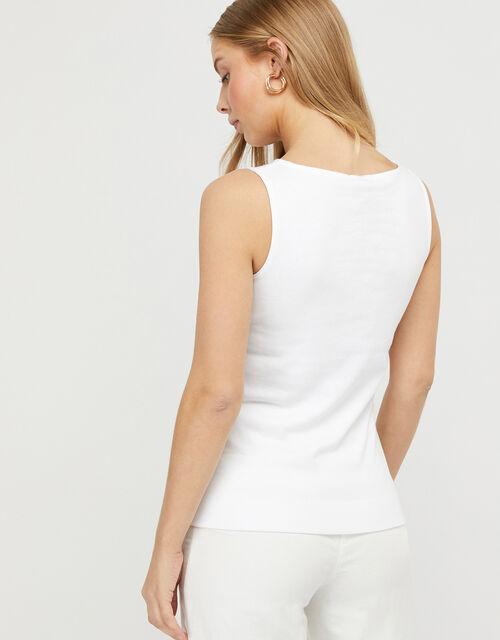Zadie Slash Neck Jersey Vest, White (WHITE), large