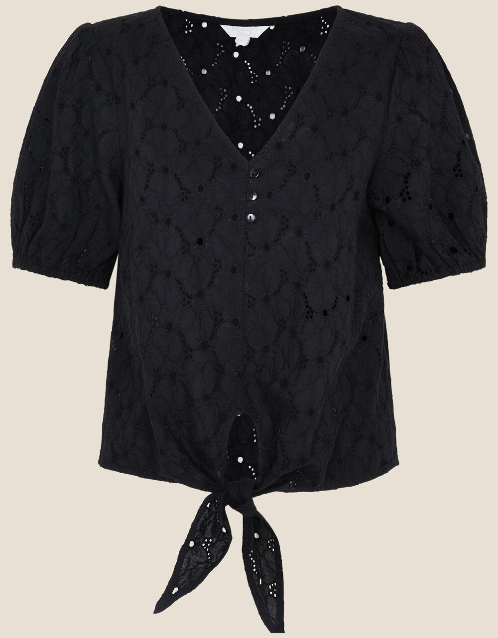 Tie Front Broderie Top, Black (BLACK), large