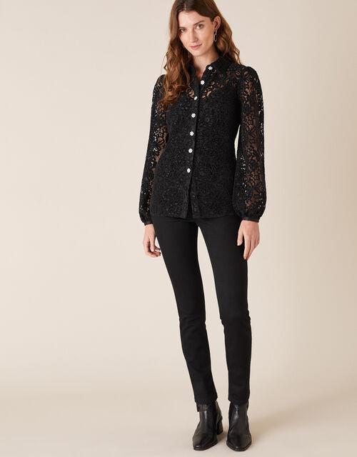 Francesca Floral Lace Shirt, Black (BLACK), large