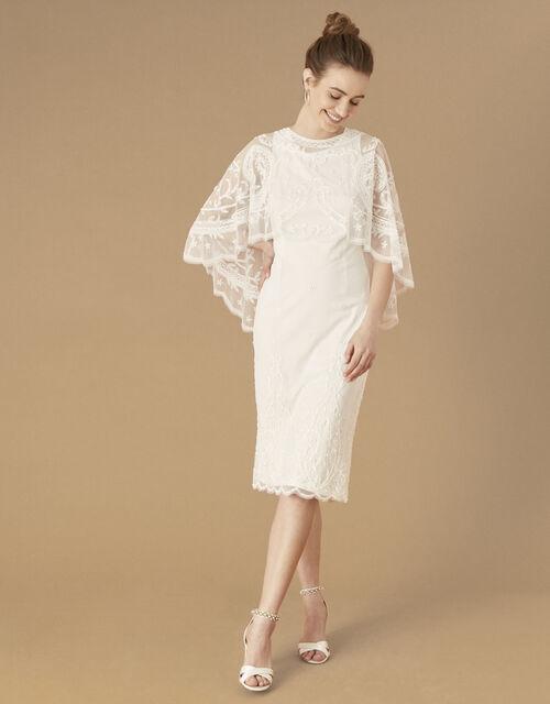 Dora Removable Cape Midi Bridal Dress, Ivory (IVORY), large