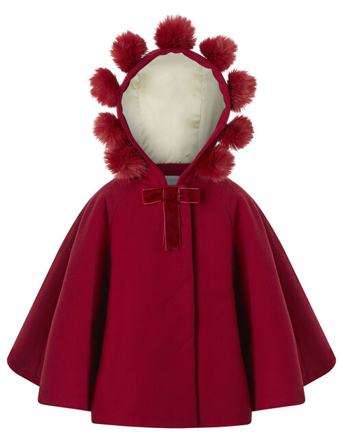 Baby Pom-Pom Cape, Red (RED), large