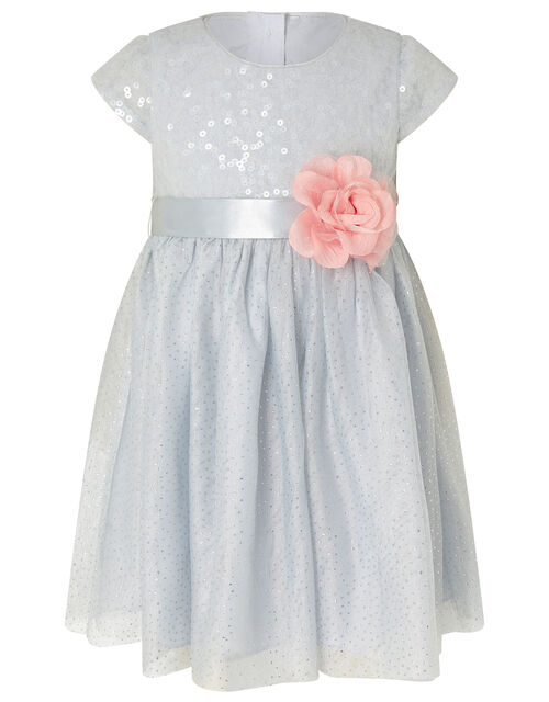 Baby Sequin Flower Corsage Dress, Blue (PALE BLUE), large