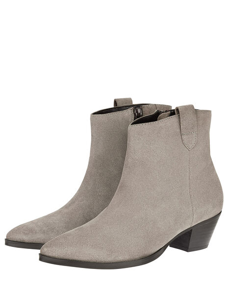 Western Suede Ankle Boots Grey, Grey (GREY), large