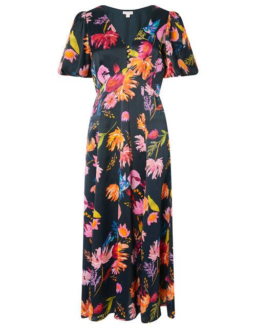 Willow Floral Satin Midi Dress, Blue (NAVY), large