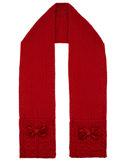Ruby Velvet Bow Cable Knit Scarf, , large