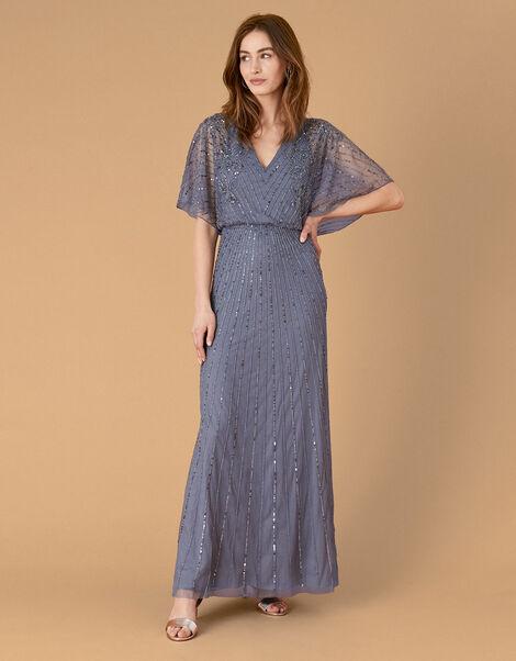 Holly Floral Embellished Maxi Dress Blue, Blue (DARK BLUE), large