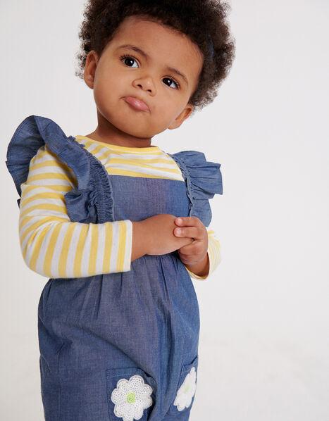 Baby Daisy Dungarees Set Blue, Blue (BLUE), large
