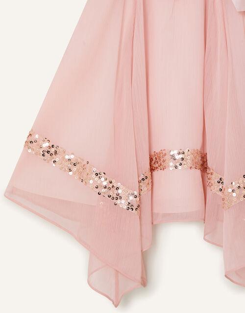 Olivia Sequin Hanky Hem Dress, Pink (PINK), large