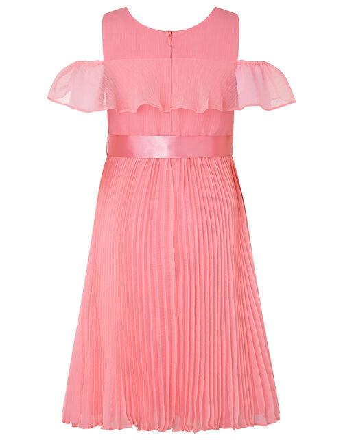 Kayleigh Cold-Shoulder Pleated Dress in Recycled Polyester, Orange (CORAL), large
