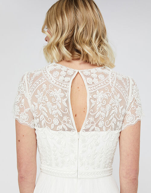 Olive Bridal Embellished Tulle Maxi Dress, Ivory (IVORY), large