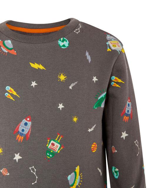 Space Rocket Sweatshirt, Grey (CHARCOAL), large