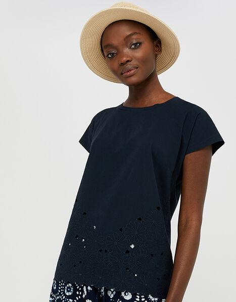 Kumar Floral Hem T-shirt in Organic Cotton Blue, Blue (NAVY), large