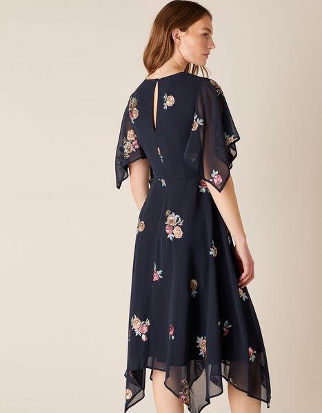Nigella Floral Sequin Hanky Hem Dress Blue, Blue (NAVY), large