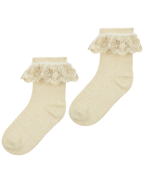 Ellen Gold Sparkle Socks, Gold (GOLD), large