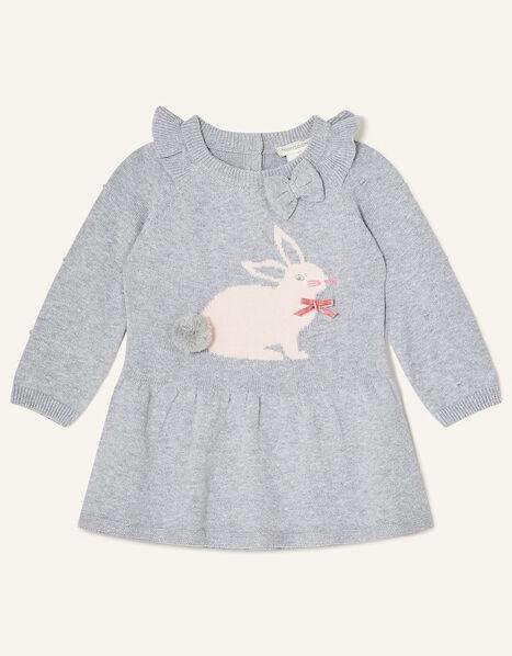 Newborn Bunny Knitted Dress Grey, Grey (GREY), large