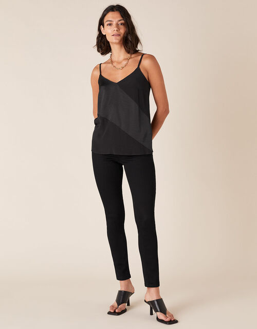 Satin Cami Top with LENZING™ ECOVERO™ , Black (BLACK), large