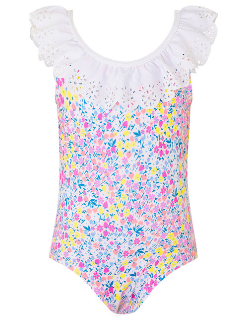 Baby Ditsy Floral Frill Swimsuit, Pink (PINK), large