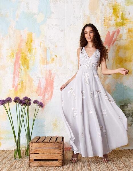 Addison Floral Embroidered Maxi Dress Blue, Blue (BLUE), large