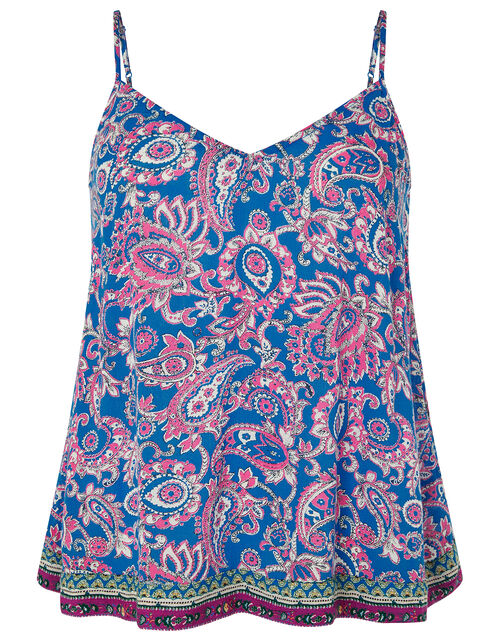 Neena Printed Cami Top in LENZING™ ECOVERO™, Blue (BLUE), large