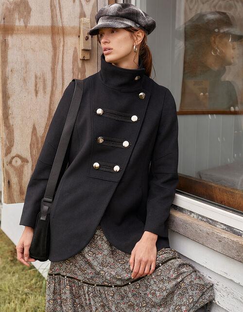 Lizzie Military Peacoat in Wool Blend, Black (BLACK), large
