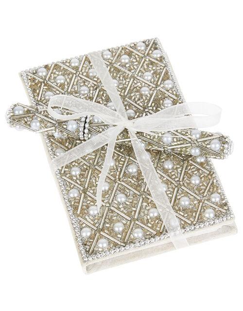 Embellished Pearl Notebook and Pen Set, , large