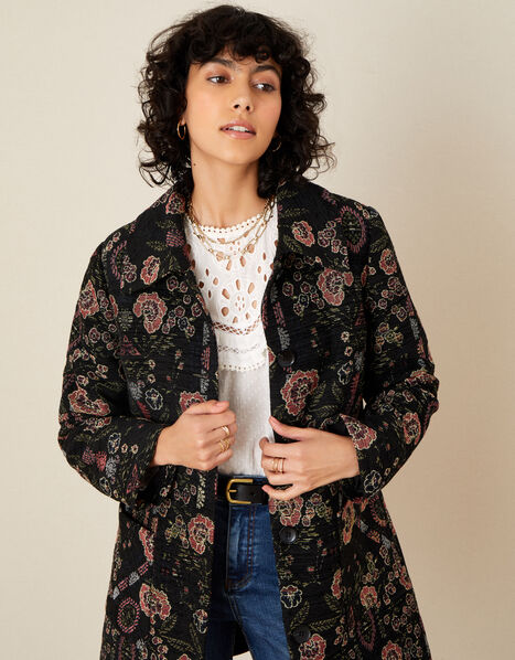 Jackie Floral Jacquard Coat Black, Black (BLACK), large