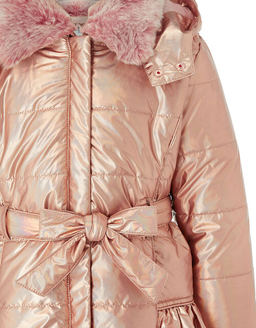Metallic Ruffle Padded Coat, Pink (ROSE PINK), large