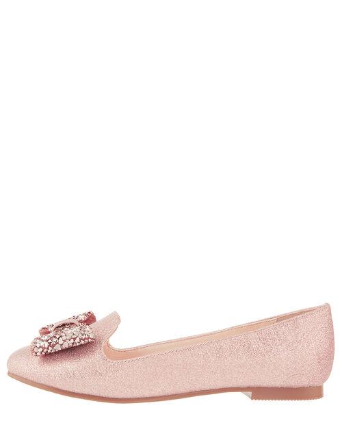 Sabrina Gem Bow Shimmer Shoes, Gold (ROSE GOLD), large